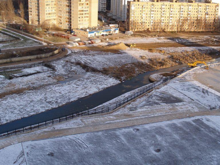 Укрепление набережной реки Яуза в Мытищах